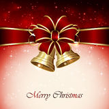 Red Christmas background with bow Stock Image