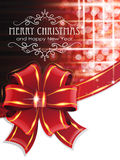 Red Christmas background with bow. Christmas and New Year background with  Red bow and ribbon Royalty Free Stock Photo
