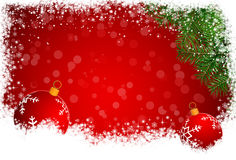 Red Christmas background with branches of spruce Stock Image
