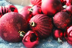 Free Red Christmas Background, Bunch Of Balls For Christmas Tree Close Up, Christmas Decorations. Christmas Card, And New Year, Congrat Royalty Free Stock Photography - 133498667