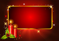 Red christmas background with candles Stock Images