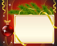 Red Christmas Background. Christmas card, fir branch, a toy and gold ribbons on red background Royalty Free Stock Image