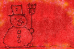 Red Christmas background, children's art snowman. Child drawing a snowman on red background Royalty Free Stock Photos