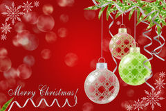 Red Christmas background with Christmas balls and fir. Red Christmas background with Christmas balls fir branch and snowflakes Royalty Free Stock Photos