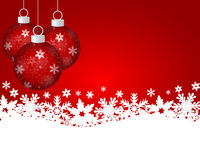Red Christmas background with Christmas balls Stock Photo