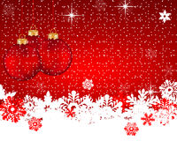 Red Christmas background with Christmas balls and snowflakes Stock Photography