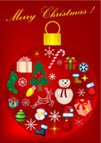 Red Christmas background with Christmas e. Red Christmas background with ball and Christmas elements Royalty Free Stock Images