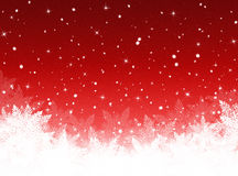 Red Christmas background with Christmas tree Stock Photos