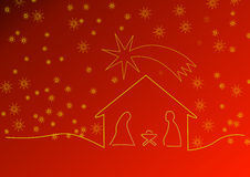 Red Christmas background with crib and stars royalty free stock images