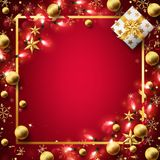Red Christmas background decorated in gold royalty free illustration