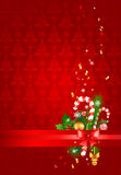 Red christmas  background with decoration Royalty Free Stock Images