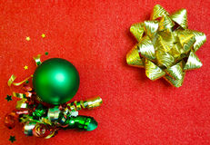 Red Christmas background with decorations Royalty Free Stock Photos