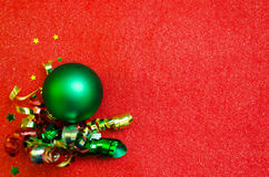 Red Christmas background with decorations Stock Images