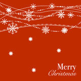 Red Christmas background design with white snowflakes Stock Photo