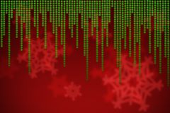 Red christmas background with falling green snowflakes Royalty Free Stock Image