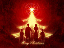 Red Christmas background with family Stock Photography