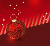 Red Christmas background. Festive Christmas background with red xmas ball and sparkling stars Royalty Free Stock Images