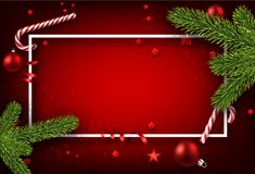 Christmas background with fir branches. Red Christmas background with fir branches, candy and stars. Vector illustration Royalty Free Stock Images