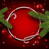 Christmas round background with fir branches. Red Christmas background with fir branches, candy and stars. Vector illustration Royalty Free Stock Images