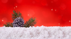 Red christmas background and fir cones. Christmas Background.Red christmas background and fir cones Royalty Free Stock Image