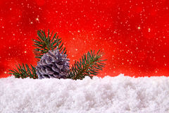 Red christmas background and fir cones. Christmas Background.Red christmas background and fir cones Royalty Free Stock Photography