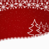 Red Christmas background with fir trees Stock Image