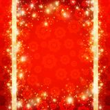 Red christmas background with frame of gold glittering snowflakes, vector illustration. Red Christmas background with a frame of golden glittering snowflakes stock illustration