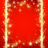 Red christmas background with frame of gold glittering snowflakes, vector illustration. Red Christmas background with a frame of golden glittering snowflakes royalty free illustration