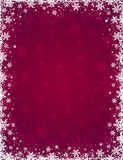 Red christmas background with frame of snowflakes and stars royalty free stock image