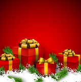 Red christmas background with gift boxes Stock Photo