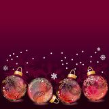 Red Christmas background with glass balls Royalty Free Stock Photos
