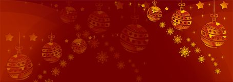Christmas Illustration A Red Christmas background with gold baubles & snowflakes.