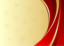 Red christmas background with golden ribbons. Golden christmas background with red and golden ribbons and place for text Stock Photo
