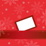Red christmas background with greeting card Stock Photography