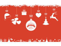Red Christmas background with hanging ornaments and border Stock Image