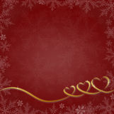 Red Christmas background with hearts and snowflakes royalty free stock images