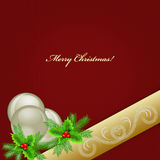 Red Christmas background with holly, baubles, ribbon and fir Royalty Free Stock Photo