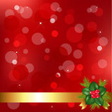 Red Christmas Background With Holly Berry. Vector Royalty Free Stock Image