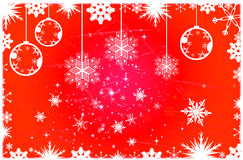 Red Christmas background. Christmas illustration with balls and snowflakes. Christmas Greeting Card 2014.Bright winter background with beautiful  toy balls Stock Photography