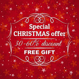 Red christmas background and label with sale off royalty free stock images