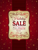 Red christmas background and label with sale offer Stock Image