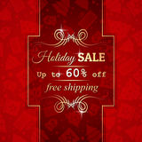 Red christmas background and label with sale offer Stock Photos