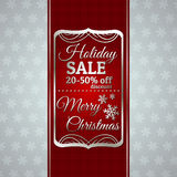 Red christmas background and label with sale offer Royalty Free Stock Photo