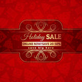 Red christmas background and label with sale offer Royalty Free Stock Photography