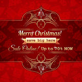Red christmas background and label with sale offer Stock Images