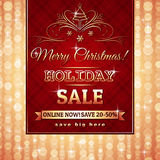 Red christmas background and label with sale offer Royalty Free Stock Images