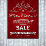 Red christmas background and label with sale offer Stock Photography