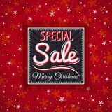 Red christmas background and  label with sale offer, vector Stock Photography