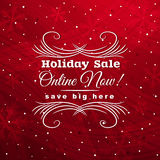 Red christmas background with label for sale, vect Royalty Free Stock Images