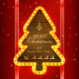 Red Christmas background with light frame Stock Photo